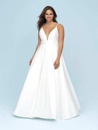 Allure Style #9620  Simple and Elegant Silk Wedding Dress with Dramatic Back Design