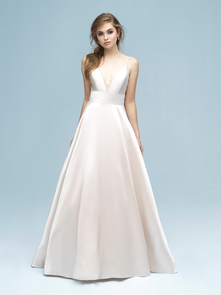 Allure Style #9620  Simple and Elegant Silk Wedding Dress with Dramatic Back Design Image
