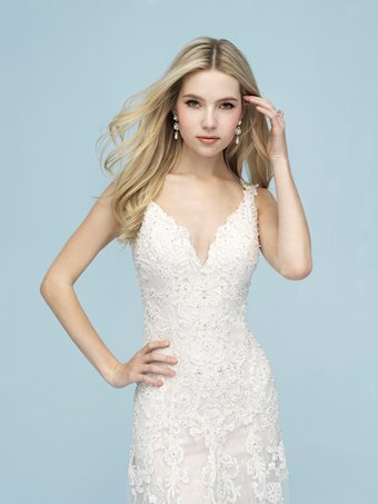 Allure Style #9621 Sleeveless Sheath Wedding Dress with Lace and Beading