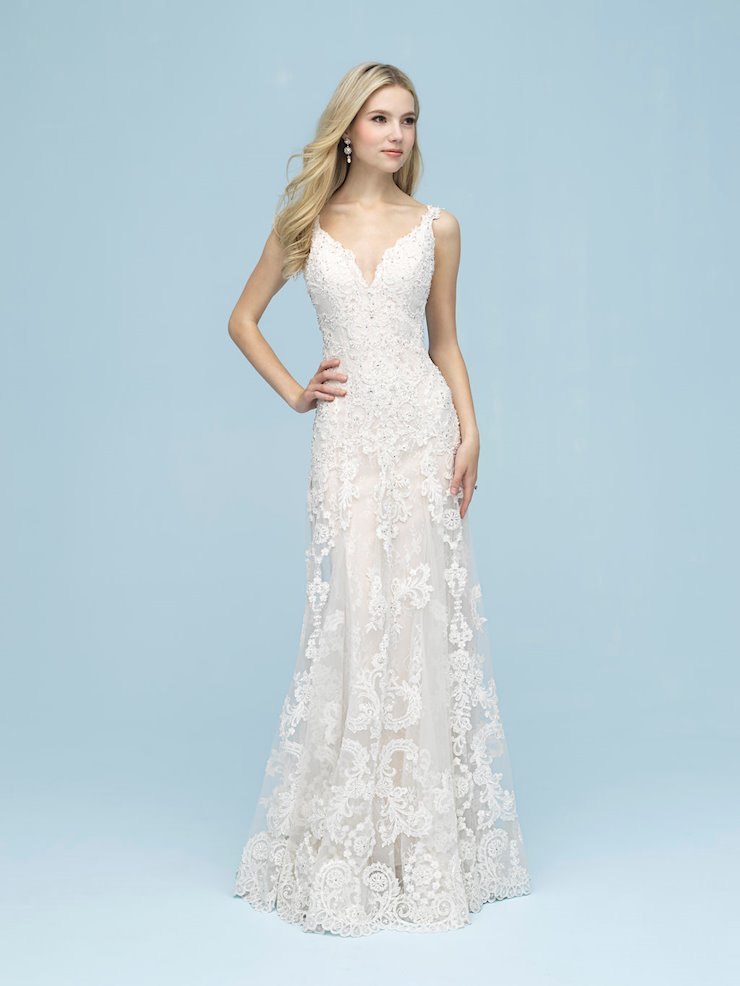Allure Style #9621 Sleeveless Sheath Wedding Dress with Lace and Beading Image