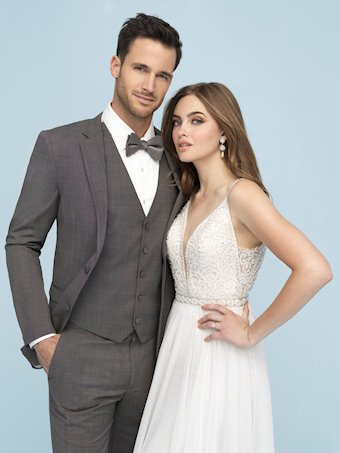 Allure Style #9622 Beaded Top A-Line Wedding Dress with Chiffon Skirt and Thin Straps