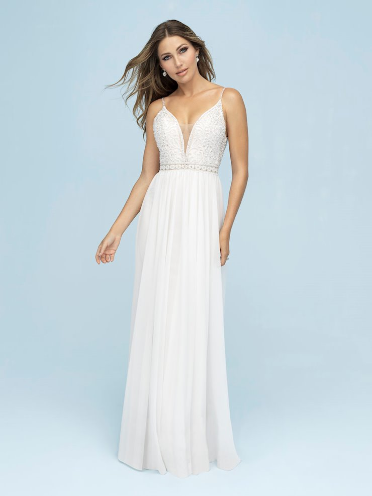 Allure Style #9622 Beaded Top A-Line Wedding Dress with Chiffon Skirt and Thin Straps  Image