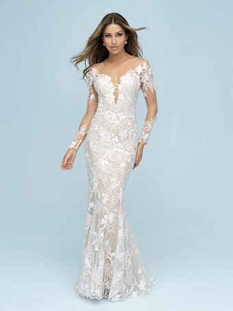 Allure Style #9623 Long Illusion Sleeve Fit and Flare Floral Wedding Dress with Dramatic Back