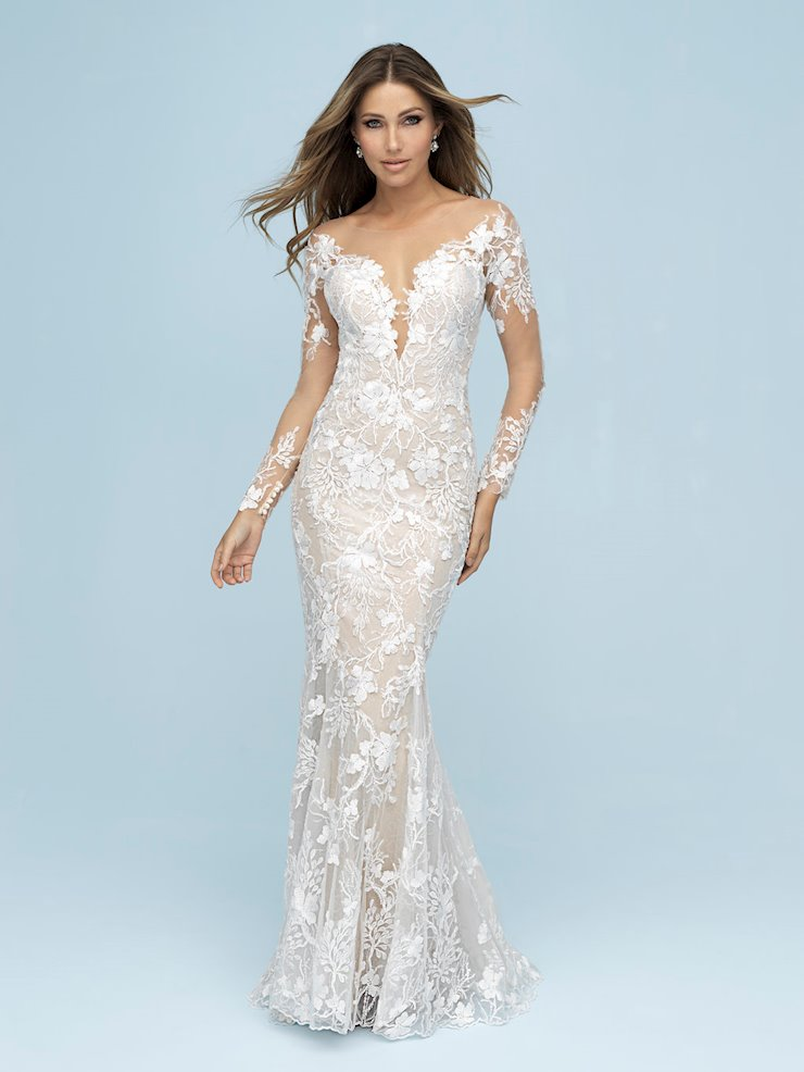 Allure Style #9623 Long Illusion Sleeve Fit and Flare Floral Wedding Dress with Dramatic Back  Image