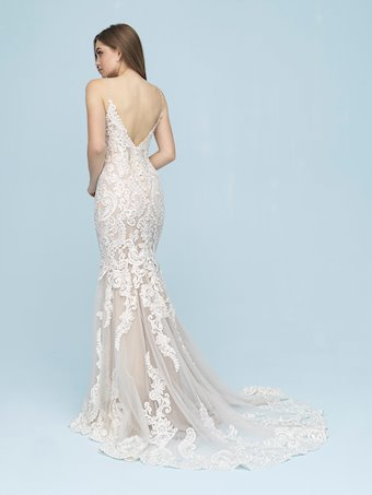 Allure Style #9624 V-Neck Sheath Wedding Dress with Thin Straps and Beading