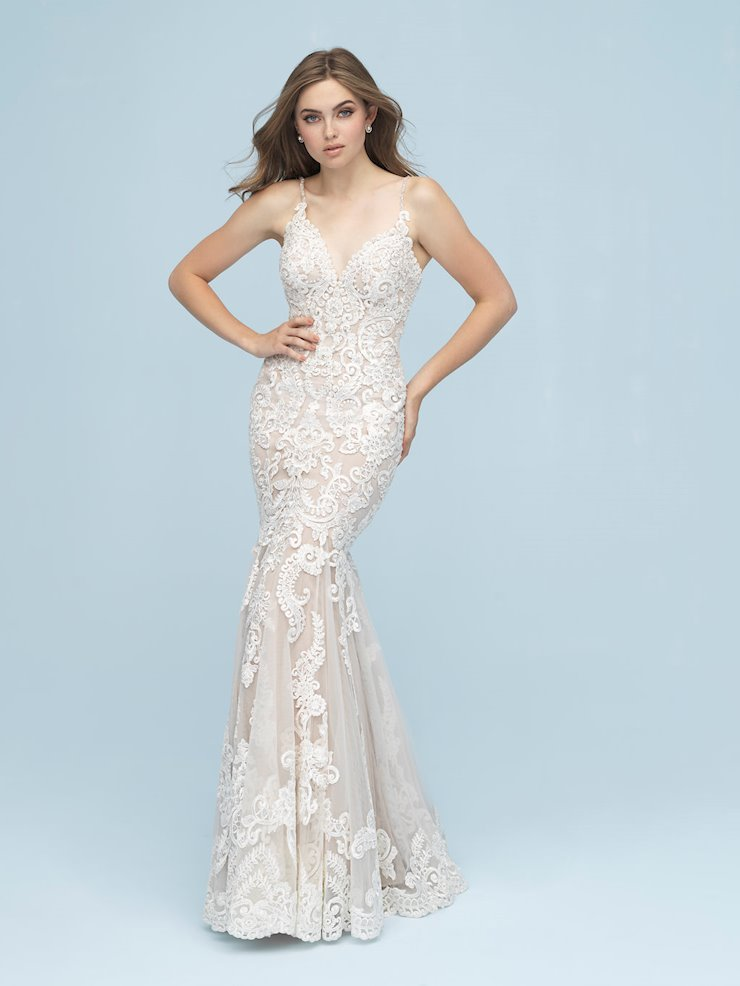 Allure Style #9624 V-Neck Sheath Wedding Dress with Thin Straps and Beading  Image