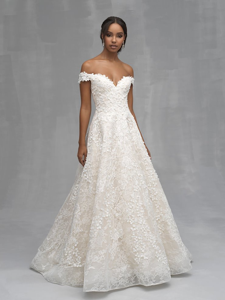 Allure Couture Style #C520 Off the Shoulder A-line Ballgown Wedding Dress with 3D Floral  Image