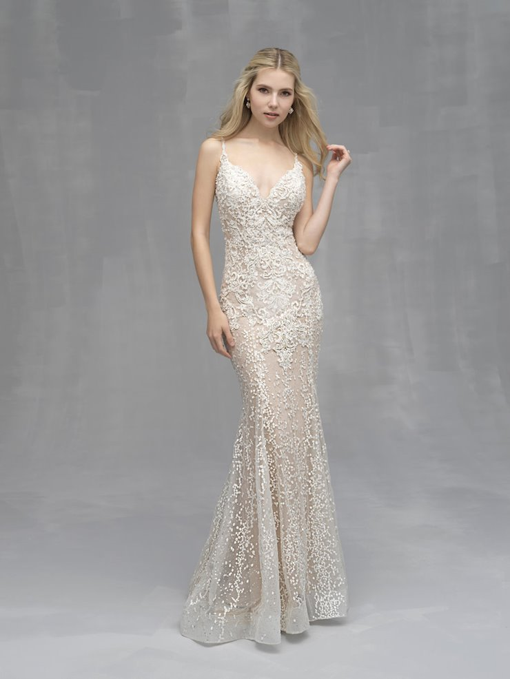 Allure Couture Style #C521 Fully Beaded and Crystal Lace V-neck Sheath Wedding Dress  Image