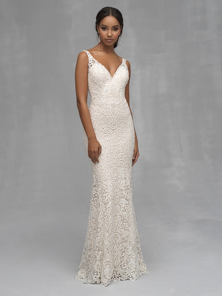 Allure Couture Style #C532 Lace, Rhinestone and Beaded v-neck Sheath Wedding Dress Image
