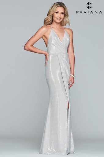 Faviana Prom Dresses Long Silver Metallic Dress