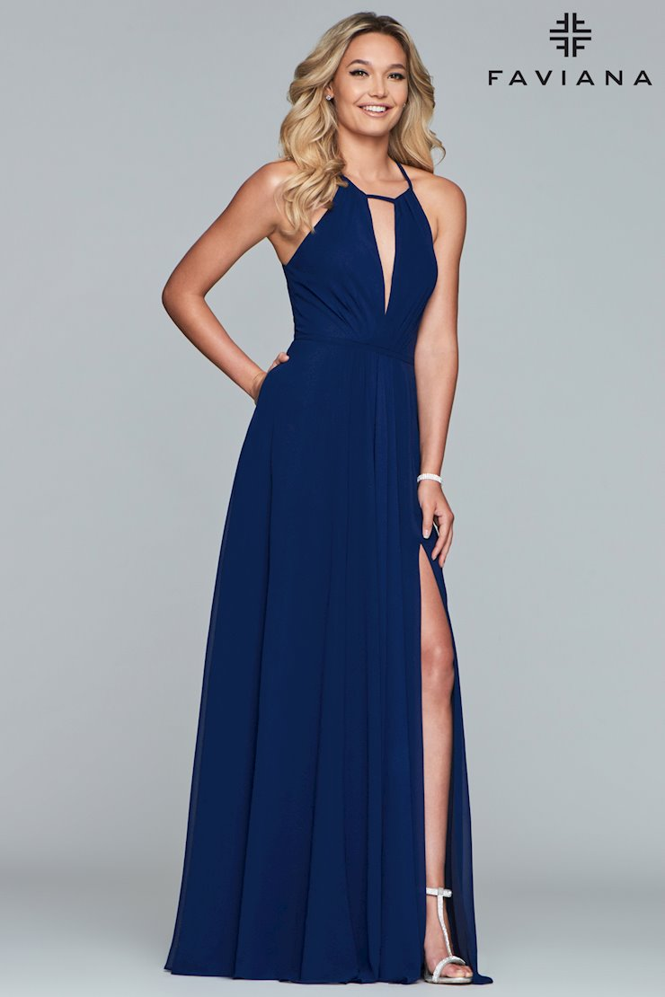 Faviana Prom Dresses Navy Keyhole Bodice Gown