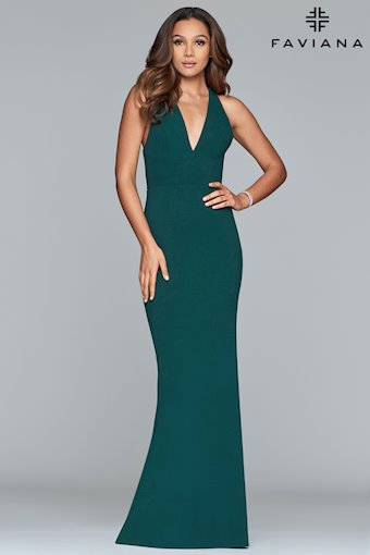 Faviana Prom Dresses V-Neck Green Halter Prom Dress