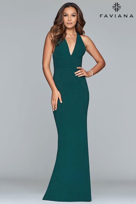 V-Neck Green Halter Prom Dress