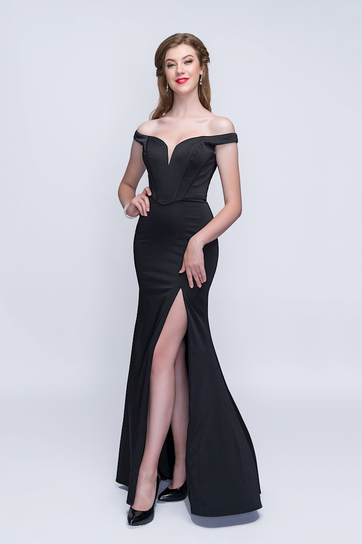 Nina Canacci Black Off the Shoulder Corset Gown