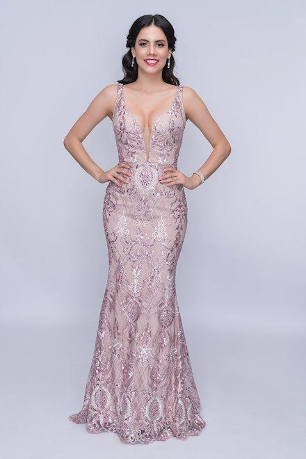 Pink V-Neck Prom Dress