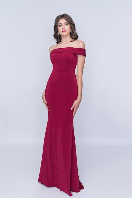 Burgundy Off the Shoulder Evening Dress