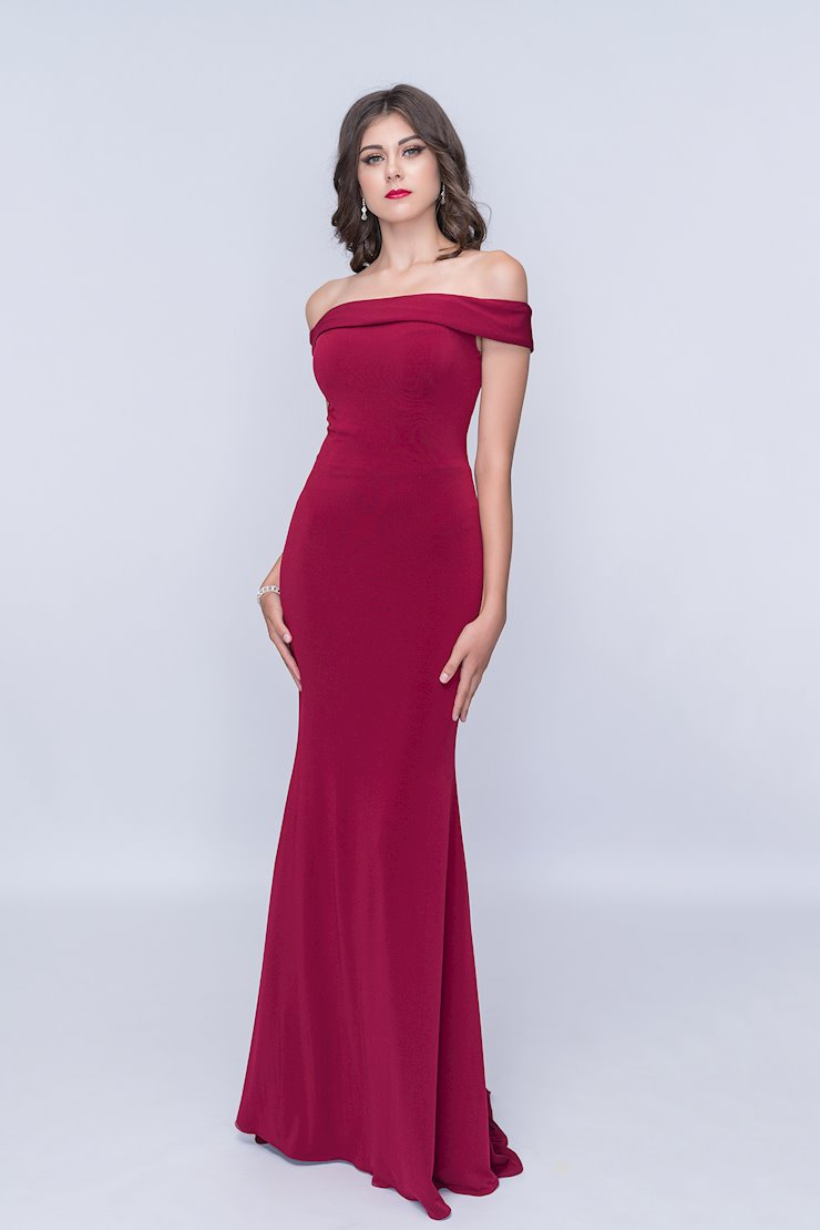 Nina Canacci Burgundy Off the Shoulder Evening Dress