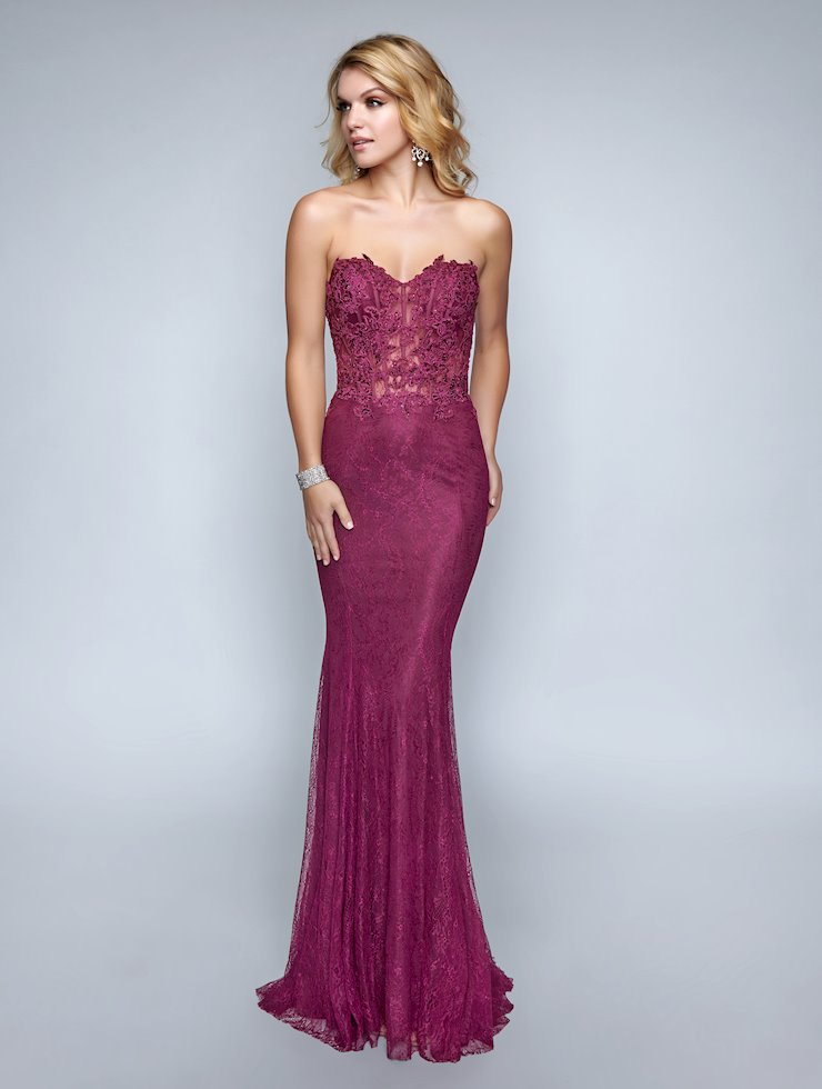 Nina Canacci Strapless Lace Prom Dress