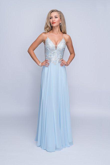 Light Blue V-Neck Chiffon Dress