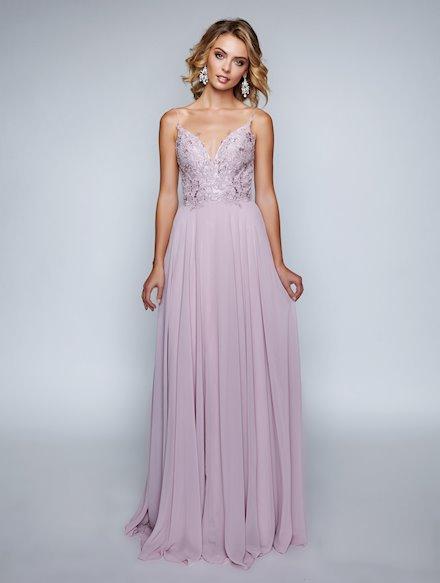 Mauve Chiffon Prom Dress
