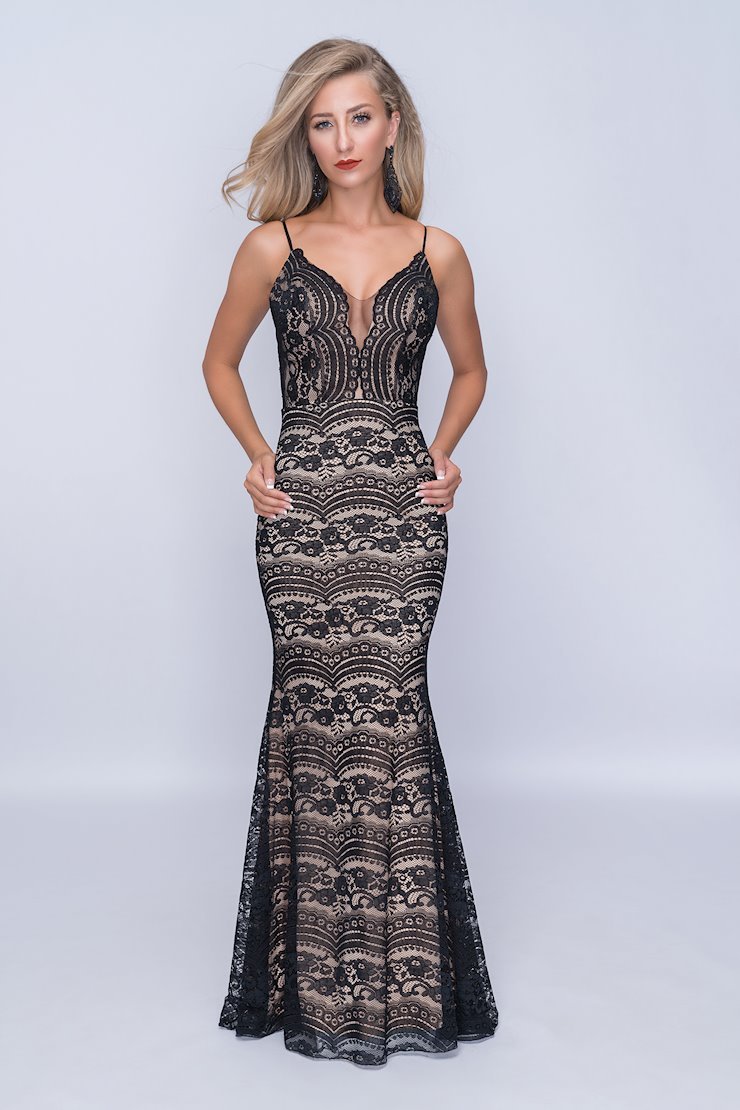 Nina Canacci Black Lace Fitted Prom Dress