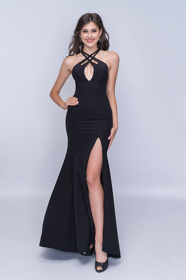 Nina Canacci Sexy Black Keyhole Bodice Dress