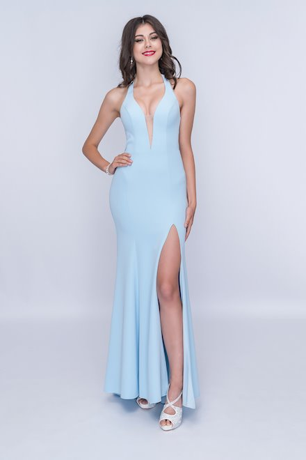 Light Blue Plunging V-Neck Dress