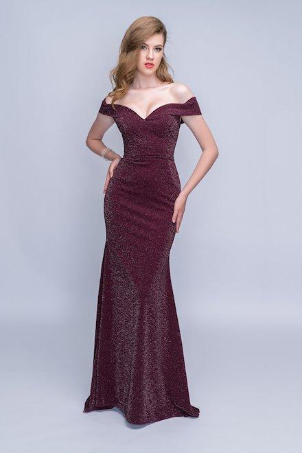 Off the Shoulder Burgundy Evening Dress