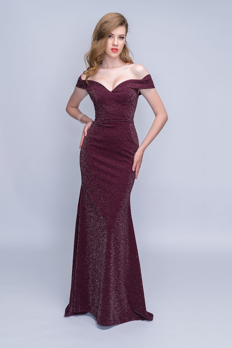 Nina Canacci Off the Shoulder Burgundy Evening Dress