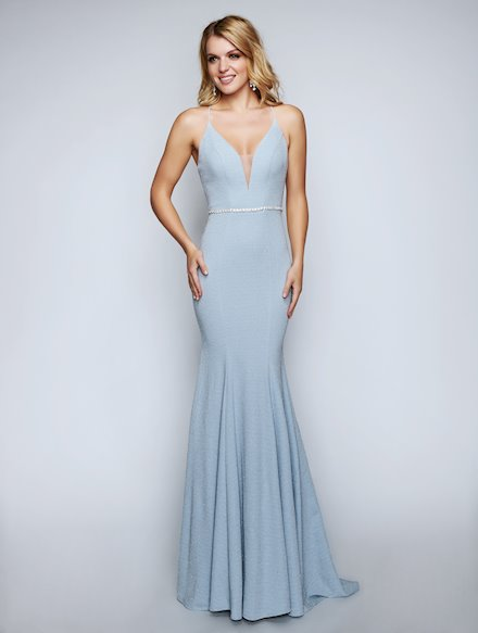 Open Back Fitted Blue Dress