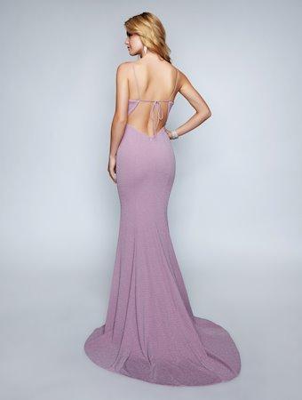 Nina Canacci Open Back Fitted Blue Dress