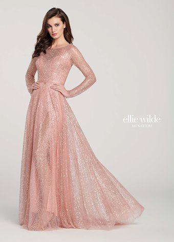 Ellie Wilde Prom Dresses Long Sleeve Rose Gold Evening Dress