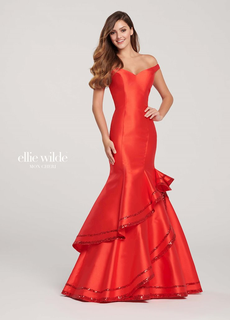 Ellie Wilde Prom Dresses Long Fitted Red Mermaid Gown