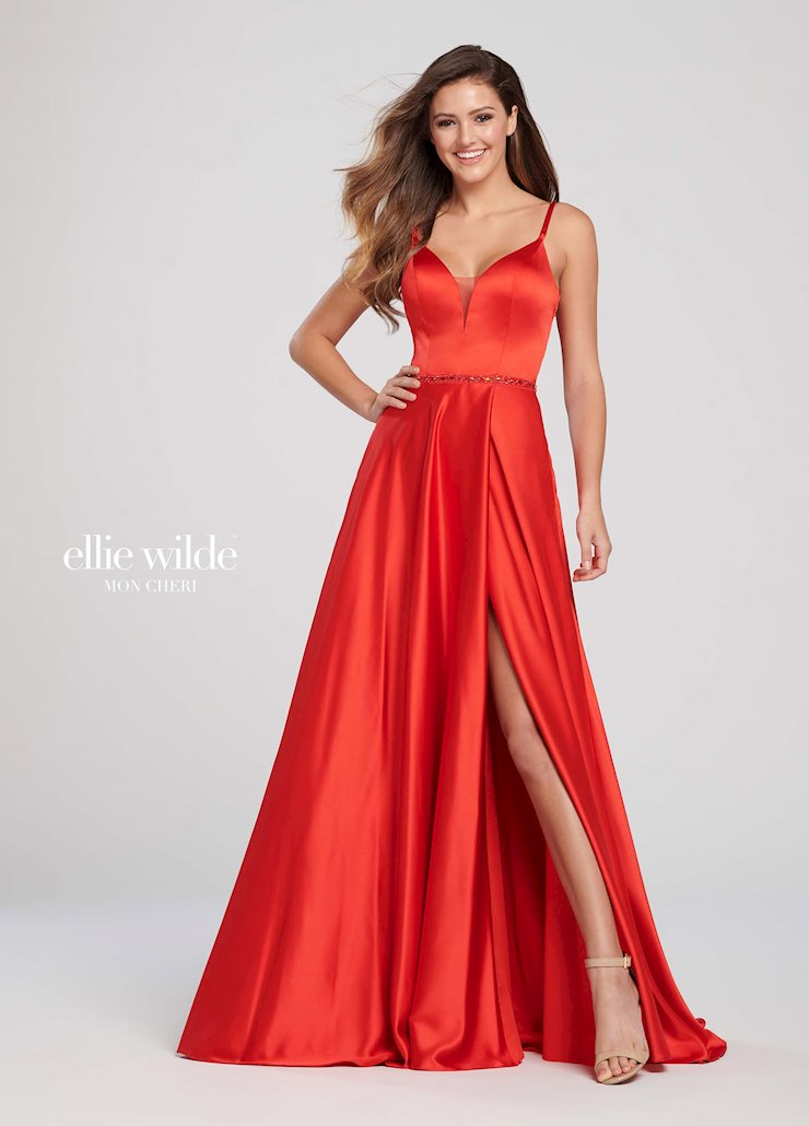 Ellie Wilde Prom Dresses Sexy Red Satin Prom Dress