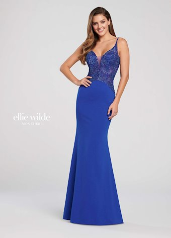 Ellie Wilde Prom Dresses Fitted V-Neck Formal Dress