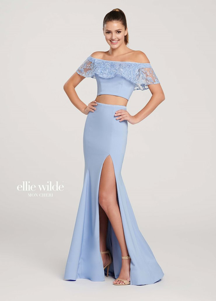 Ellie Wilde Prom Dresses Off the Shoulder Two Piece Gown