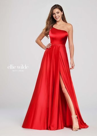 Ellie Wilde Prom Dresses One Shoulder Red Dress