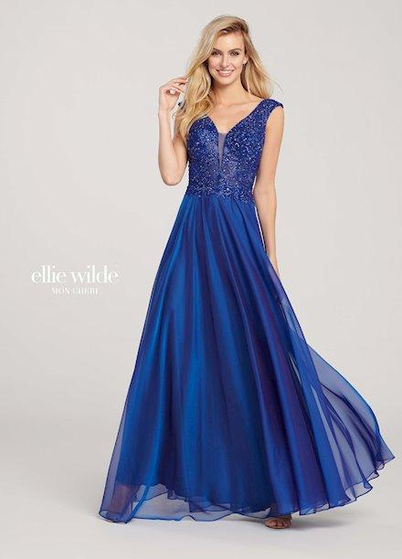 Elegant Blue Chiffon Prom Dress