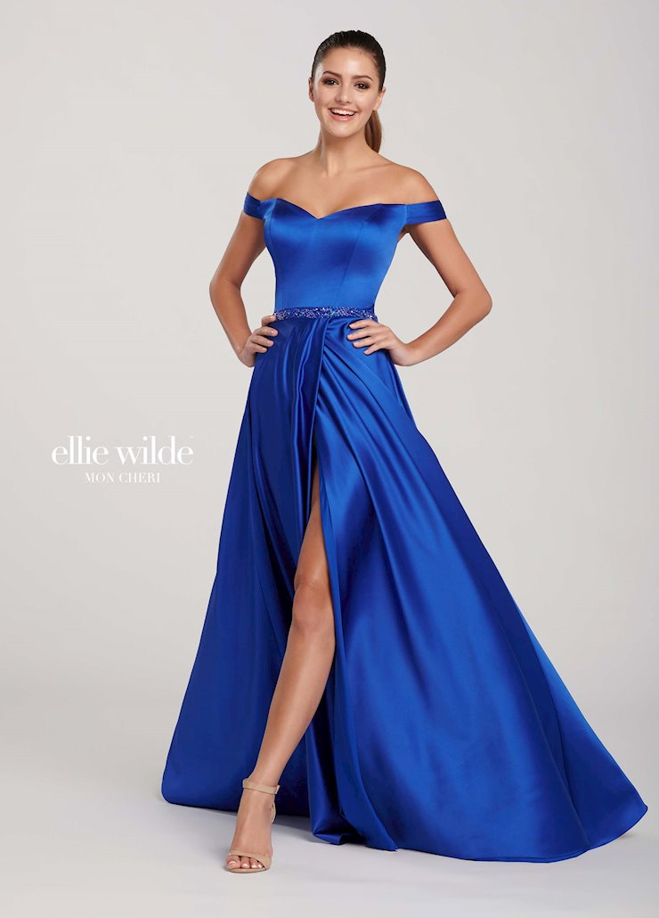 Ellie Wilde Prom Dresses Off the Shoulder Satin Evening Dress