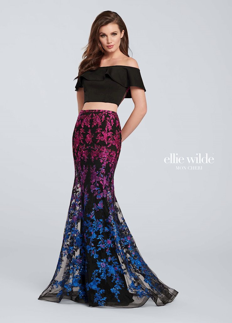 Ellie Wilde Prom Dresses Two Piece Multicolor Prom Dress