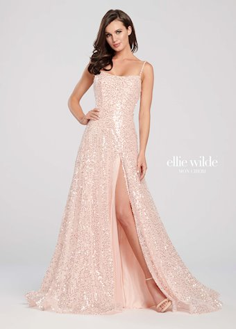 Ellie Wilde Prom Dresses Sequin Lace Up Back Dress
