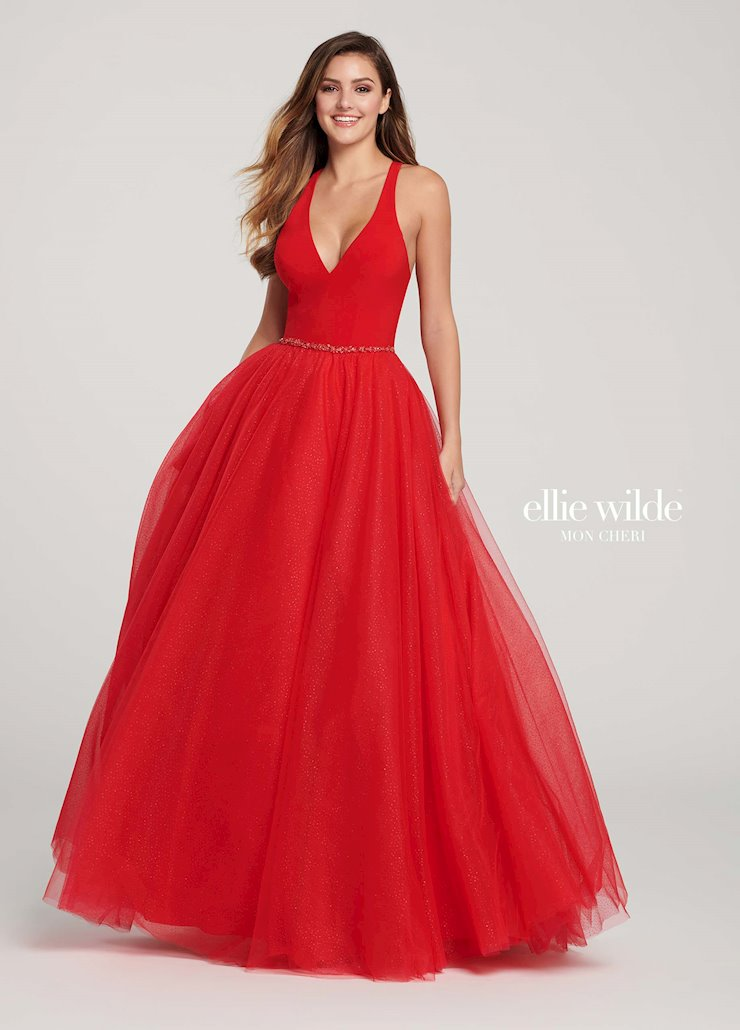 Ellie Wilde Prom Dresses Red V-Neck Ball Gown