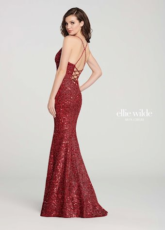 Ellie Wilde Prom Dresses Open Back Red Sequin Dress