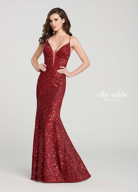 Open Back Red Sequin Dress