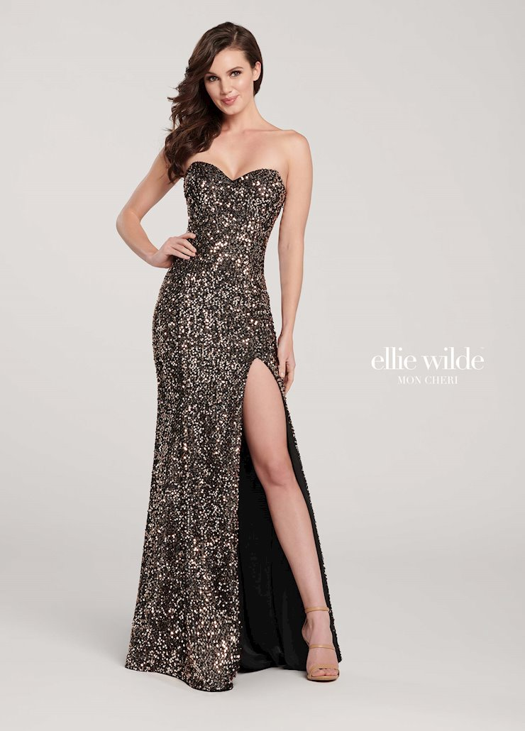 Ellie Wilde Prom Dresses Strapless Sequin Formal Dress