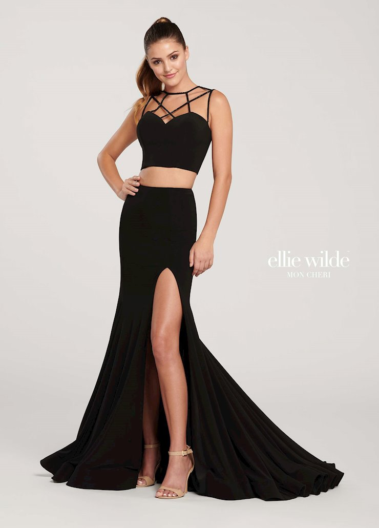 Ellie Wilde Black Sexy Formal Prom Dress
