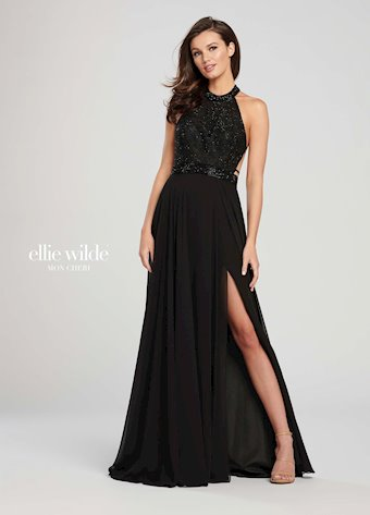 Ellie Wilde Prom Dresses High Neck Chiffon Dress with Slit