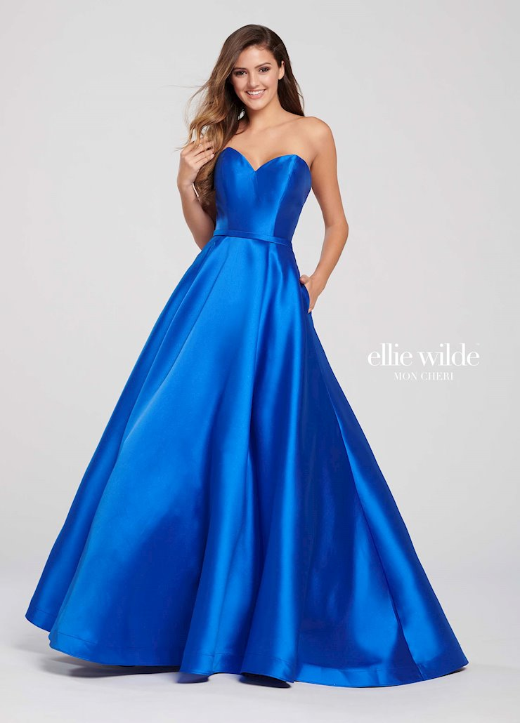Ellie Wilde Prom Dresses Strapless Blue Ball Gown