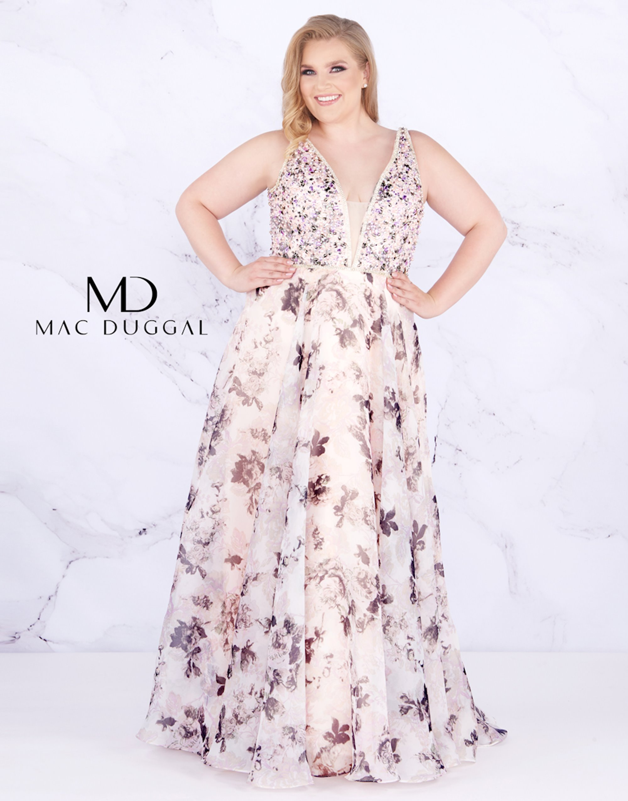 Flower patterned wedding dress