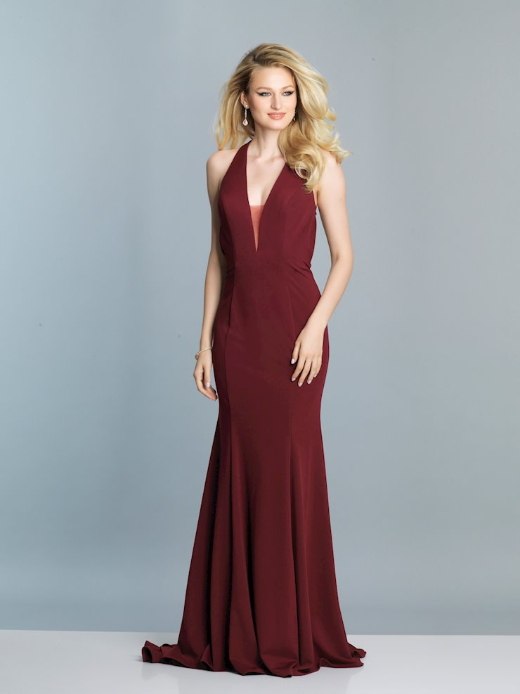 Dave & Johnny Prom Dresses Simple Burgundy V-Neck Prom Dress